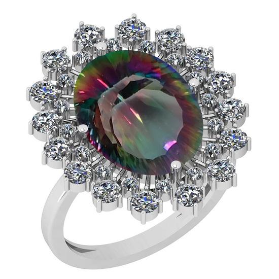 6.34 Ctw I2/I3 Mystic Topaz And Diamond 14k White Gold Vingate Style Ring