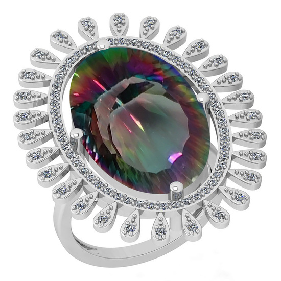 11.08 Ctw VS/SI2 Mystic Topaz And Diamond 14k White Gold Vingate Style Ring