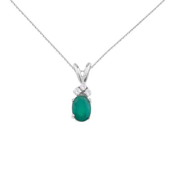 14K White Gold Oval  Emerald Pendant with Diamonds 0.95 CTW