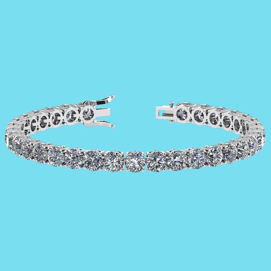 Certified 14.85 Ctw SI1/I2 Diamond Ladies Fashion 18K White Gold Tennis Bracelet