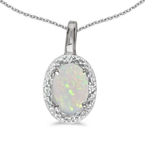 10k White Gold Oval Opal And Diamond Pendant 0.21 CTW
