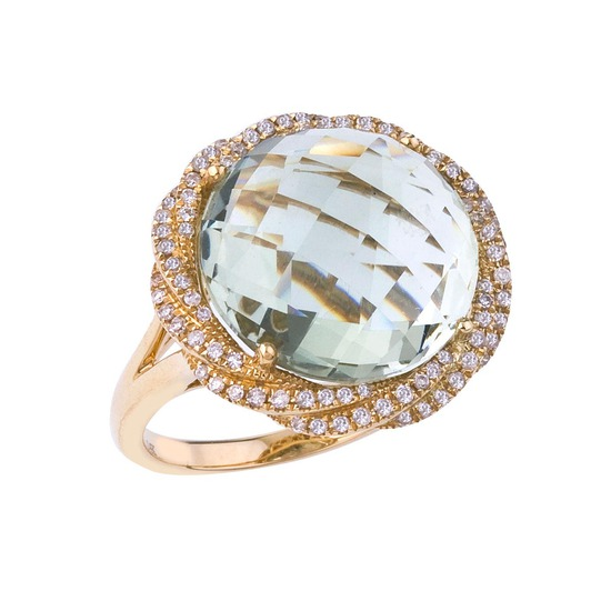 14k Yellow Gold Green Amethyst and Diamond Ring 11.81 CTW