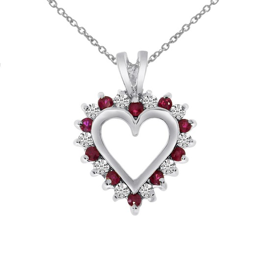 14k White Gold Ruby and Diamond Heart Shaped Pendant 0.25 CTW