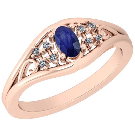 0.41 Ctw I2/I3 Blue Sapphire And Diamond 14K Rose Gold Ring