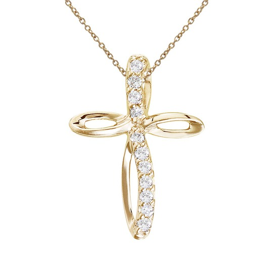 14K Yellow Gold Small Swirl Diamond Cross Pendant 0.09 CTW