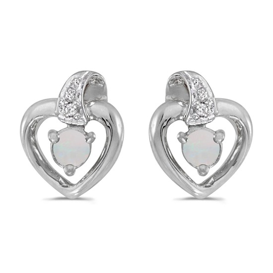10k White Gold Round Opal And Diamond Heart Earrings 0.09 CTW