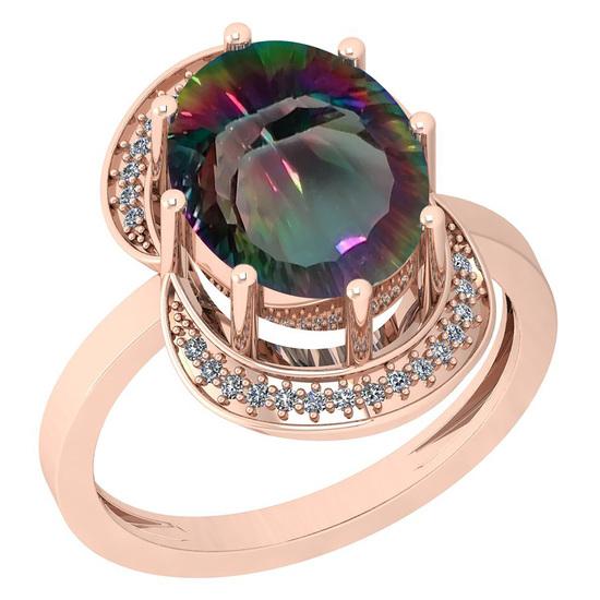 5.09 Ctw VS/SI2 Mystic Topaz And Diamond 14k Rose Gold Vingate Style Ring