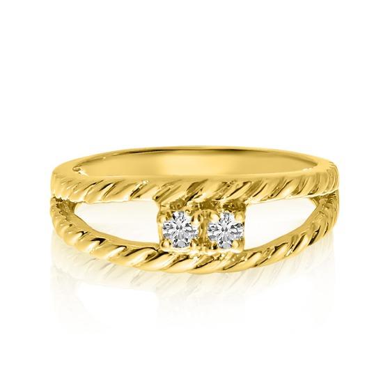 14K Yellow Gold Braided Two-Stone Diamond Ring 0.12 CTW