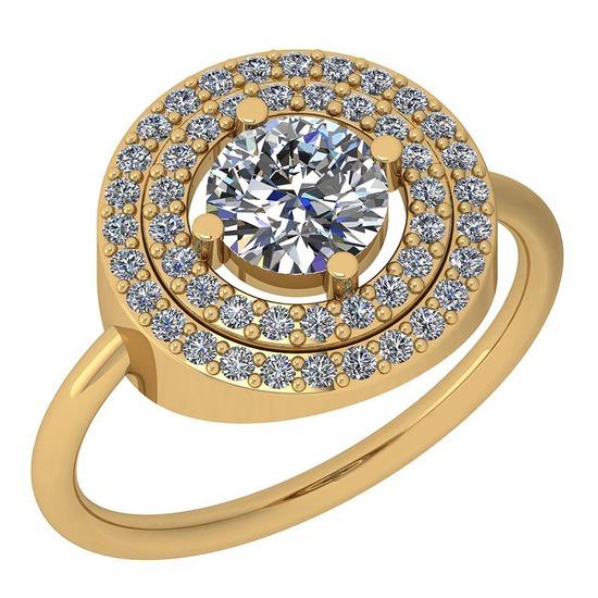 1.37 Ctw Diamond I2/I3 14K Yellow Gold Vintage Style Ring