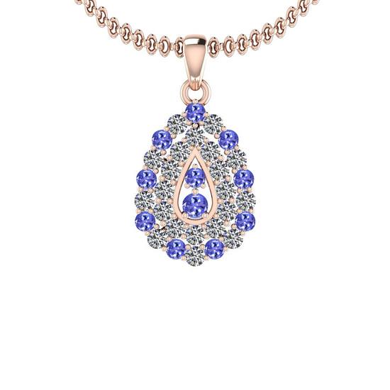 1.15 Ctw VS/SI1 Tanzanite And Diamond 14K Rose Gold Pendant Necklace
