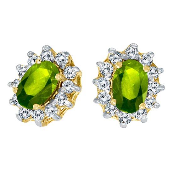 10k Yellow Gold Oval Peridot and .25 total CTW Diamond Earrings 1.05 CTW
