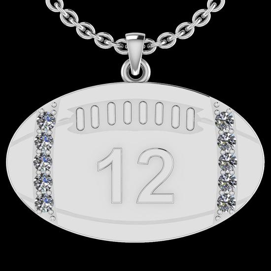 0.35 Ctw SI2/I1 Diamond 14K White Gold Football Rugby Pendant