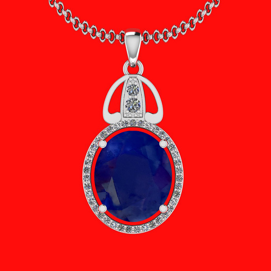 6.26 Ctw VS/SI1 Blue Sapphire And Diamond 14K White Gold Necklace