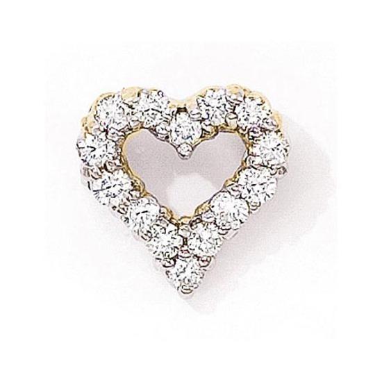 14K Yellow Gold Diamond Heart Pendant 1.00 CTW