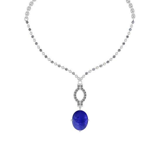 13.71 Ctw SI2/I1 Tanzanite And Diamond 14k White Gold Victorian Style Necklace