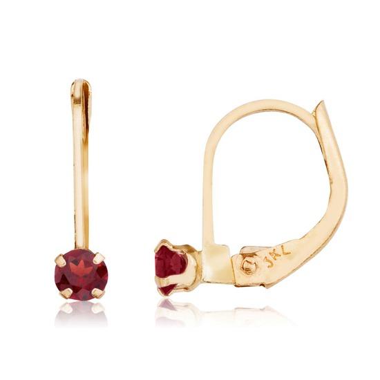 14k Petite Garnet Leverback Earrings 0.2 CTW