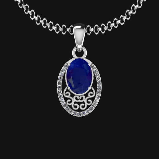 0.81 Ctw VS/SI1 Blue Sapphire And Diamond 14K White Gold Necklace