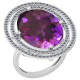 22.15 Ctw VS/SI1 Amethyst And Diamond 14k White Gold Victorian Style Ring