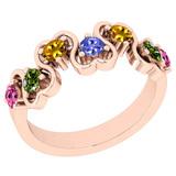 0.70 Ctw SI2/I1 Multi Sapphire ,Tanzanite Style Prong Set 14K Rose Gold Eternity Band Ring