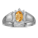 14k White Gold Oval Citrine And Diamond Ring 0.32 CTW