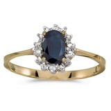 14k Yellow Gold Oval Sapphire And Diamond Ring 0.41 CTW