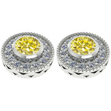 1.40 Ctw I2/I3 Treated Fancy Yellow And White Diamond 14K White Gold Stud Earrings
