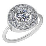 1.37 Ctw Diamond I2/I3 14K White Gold Vintage Style Ring