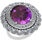 13.79 Ctw Amethyst And Diamond SI2/I1 14k White Gold Victorian Style Ring