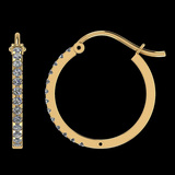 0.46 Ctw SI2/I1 Diamond 14K Yellow Gold Hoop Earrings