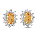 14k Yellow Gold Oval Citrine And Diamond Earrings 0.28 CTW