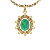 2.00 Ctw Emerald 14K Yellow Gold Necklace
