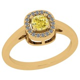 0.63 Ct GIA Certified Natural Fancy Yellow Diamond And White Diamond 18K Yellow Gold vintage Style R