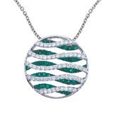 14k White Gold Emerald and Diamond Wave Pendant 1.53 CTW
