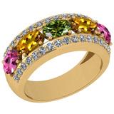 1.45 Ctw I2/I3 Multi Sapphire And Diamond 10K Yellow Gold Wedding Band Ring