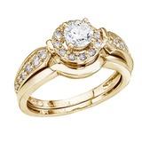 14K Yellow Gold .75 CTW Round Diamond Band Bridal Ring Set 0.75 CTW
