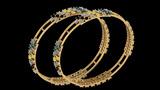 12.34 Ctw I2/I3 Multi Treated Fancy yellow,Blue,Black And White Diamond 14K Yellow Gold Bangles