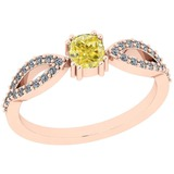 0.65 Ct GIA Certified Natural Fancy Yellow Diamond And White Diamond 14K Rose Gold Anniversary Ring