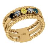 0.50 Ctw I2/I3 Treated Fancy Multi Diamond 14K Yellow Gold Eternity Band Ring