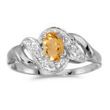 14k White Gold Oval Citrine And Diamond Swirl Ring 0.32 CTW