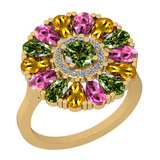2.86 Ctw I2/I3 Multi Sapphire And Diamond 14K Yellow Gold Flower Ring