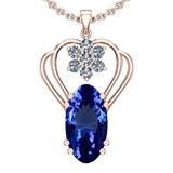 7.40 Ctw VS/SI1 Tanzanite And Diamond 14k Rose Gold Victorian Style Necklace