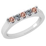 0.34 Ctw SI2/I1 Morganite And Diamond 14K White Gold Band Ring