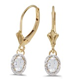 14k Yellow Gold Oval White Topaz And Diamond Leverback Earrings