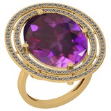 22.15 Ctw VS/SI1 Amethyst And Diamond 14k Yellow Gold Victorian Style Ring
