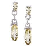 14k White Gold  Oval Dangle Lemon Quartz And Diamond Earrings 9.76 CTW