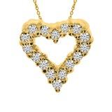 14K Yellow Gold Diamond Heart Pendant 0.25 CTW