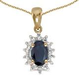 10k Yellow Gold Oval Sapphire And Diamond Pendant 0.41 CTW