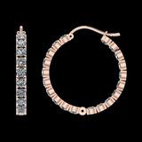 11.20 Ctw SI2/I1 Diamond 14K Rose Gold Hoop Earrings
