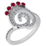0.96 Ctw VS/SI1 Ruby And Diamond 14K White Gold Ring