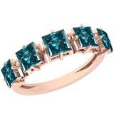 1.39 Ctw I1/I2 Treated Fancy Blue Diamond Platinum 14K Rose Gold Plated Ring